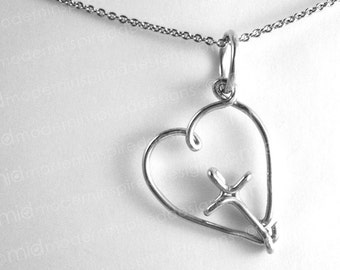 Cross in Heart Pendant - Christian Necklace - Christian Jewelry - Cross Jewelry - Aluminum - Wire Wrapped