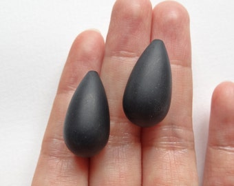 Frosted Matte Black Agate Smooth Half Top Drilled Fat Teardrops 12x22 mm One Pair K6985
