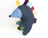 Colourful hedgehog, handmade stuffed toy, dark blue and white dots
