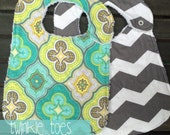 Teal and Yellow Paisley and Grey Chevron Baby Girl Bibs- Set of Two