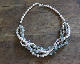 Freshwater Pearl and Labradorite Multistrand Statement Necklace