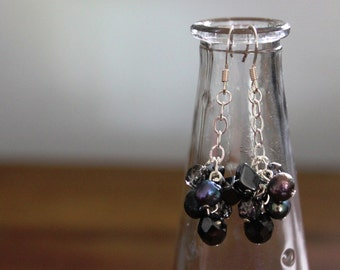 Pearl, Hematite, and Faceted Glass Earrings