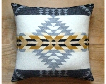 Wool Pillow - Native Geometric Southwest - Silver Gray Tribal Arrows