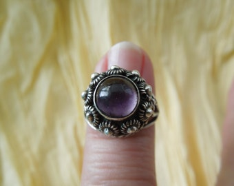 Vintage Mexican Sterling Silver Ring Amethyst Adjustable Band Eagle Mark