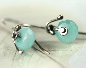 Aqua Jade Sterling Silver Earrings - Rivets and Flowing Silver