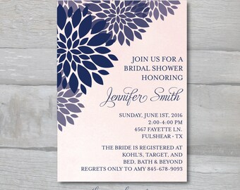 Modern Flower Bridal Shower Invite BLUSH and NAVY watercolor
