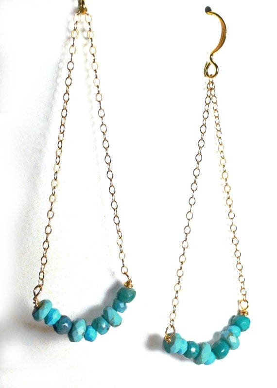 Turquoise and gold earrings. Long geometric triangle earrings with Delicate gold filled chain