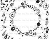 folk hand drawn flowers vector clipart, laurel wreath clip art, floral drawings png clip art, leaves botanical instant download