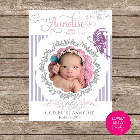 DIY Printable Baptism, Communion, Christening, Birthday POSTER design - butterflies and roses