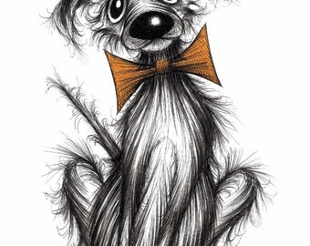 Hello Roger Print download Super cute friendly attention seeking pet doggy pup pooch in posh fashionable bow tie Amusing fun animal picture