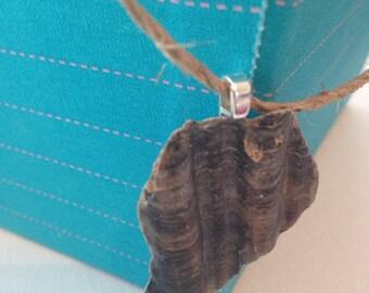 Dark Seashell Fragment Pendant Necklace