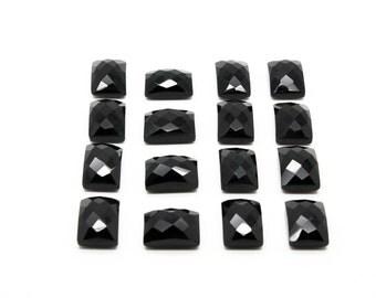 GCF-1056 - Black Onyx Cabochon - Rectangular 10x14mm - AA Quality - 1 Pc