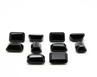 GCF-1063 - Black Onyx Gemstone - Rectangular 7x11mm - Calibrated Gemstone - Diamond Cut - AA Quality - 1 Pc