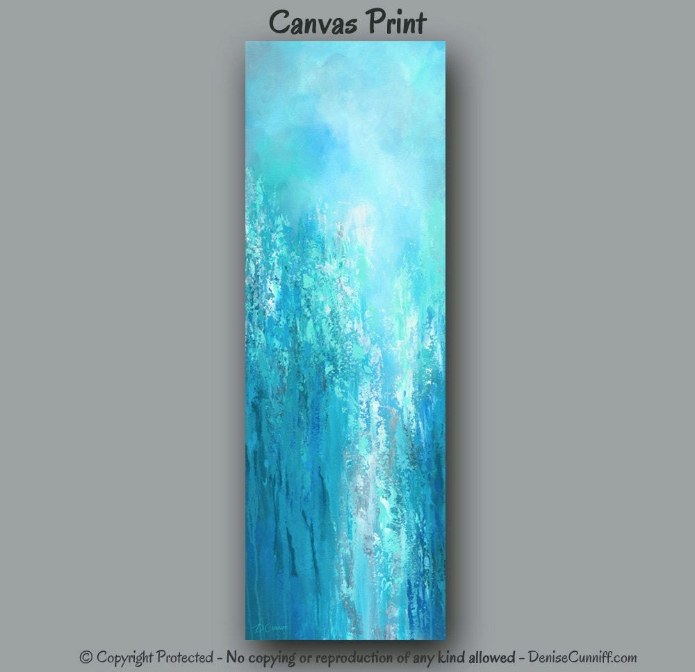Blue Wall Art Abstract Painting Canvas Art Print Tall