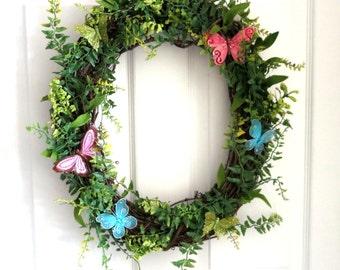 SALE - Butterfly Wreath  -  Spring/Summer Wreath - Oval Grapevine Wreath - Modern Wreath
