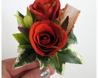 Faux Wedding Boutonniere - Anniversary Boutonniere - Prom Boutonniere - Father's Day Boutonniere - Variegated Burnt Orange Roses Boutonniere