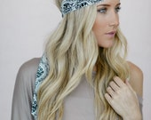 Cute Headscarf, Pattern Dolly Bow Headband, Printed Bandana, Hair Accessory, Printed Head Wrap in Black and White (HB-3723)
