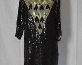 1980s Glam Sequin Scallop Trim A-Symmetrical Dress Plus Size XL