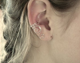 Ear Cuffs  Set of Two  A Pair of Sterling Silver, 14K gold filled, gold tone or Silver Plated Ear Cuffs with Swirls