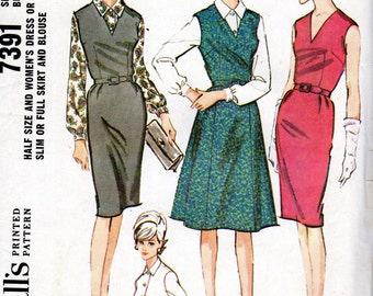 """1960s Women's Dress or Jumper with Full or Slim Skirt & Blouse Pattern - Size 16 1/2"""" - Bust 37"""" - Mccall's 7391"""