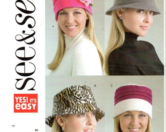 Easy Women's Hat Pattern- Size Small, Medium, Large - Butterick See & Sew B4643 uncut