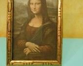 Mona LIsa Smile Antike Gold Framed Small Art