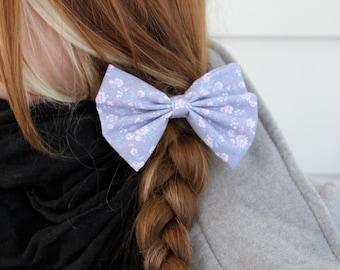 SALE - Hailey Hair Bow - Lilac and Floral Hair Bow with Clip