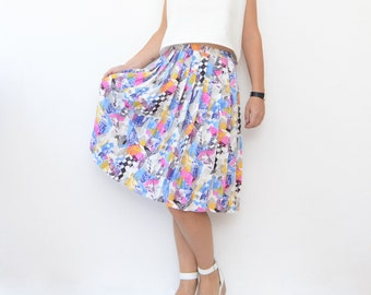 Vintage colorful funky mid length pleated skirt / accordion skirt