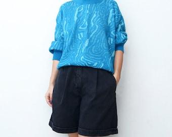 Vintage blue alburnum print 80s sweater slouchy jumper texture women top