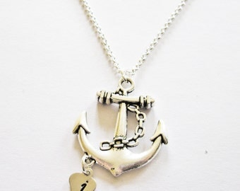 Personalized Anchor Necklace, stamped Initial silver heart, letter charm, personalized necklace, Anchor Initial Necklace. Custom Letter