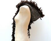 RESERVED: The Coyote Hood ~ Merino Wool Hooded Scarf with Wool Fur Trim in Cocoa and Heathered Brown