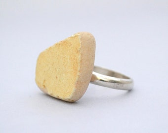 Yellow Trapeze Ceramic with Silver Ring | One of a kind Rings | Size 54 | unique ring for her | Noga Berman