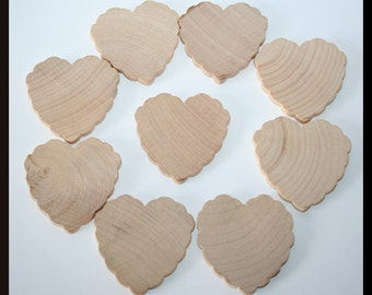 5- Scalloped Wooden Hearts, Ruffle Hearts, Unfinished DIY Wooden Hearts, Bulk Wooden Hearts, Wedding Hearts, Wedding Guest Book Hearts