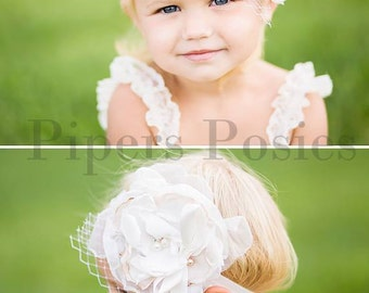 Penny-Creamy, White Couture Flower Headband