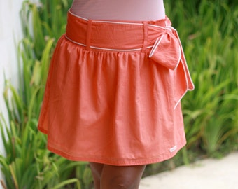 Bridesmaid Skirt / Coral Skirt / Mini Skirt with Sash
