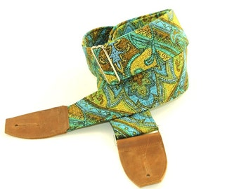 Ocean Paisley Guitar Strap Blue and Green - Musical instrument Strap