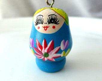 1 Blue Russian Nesting Doll Matryoshka Large Wood Pendant Charm - Charming Hand Painted