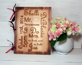 Personalized Wedding Guest Book, Personalized Album Custom Wood Engagement, Anniversary Gift, Rustic Wedding Guest Book