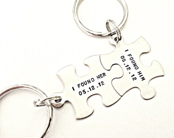 I Found Her, I Found Him Personalized Puzzle Piece Key Chain Set - Custom Hand Stamped Puzzle Pieces for Couples, Wedding, Anniversary Gift