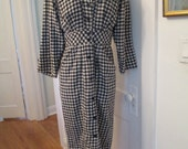 Gingham Checkered Day Dress Vintage Black Cotton Flannel Wiggle Sexy Rockabilly Stretch Synch