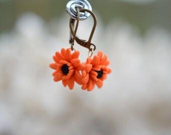 Orange Gerbera Daisy Flower Earrings, Orange Flower Necklace, Gerbera Daisy Necklace, fall Wedding Necklace