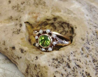 Victorian Peridot and Pearl Ring set in 14 Karat Yellow Gold