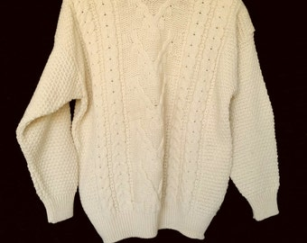 Wool Fisherman Cable Knit Ivory Sweater • Vintage Icelandic Pure New Wool Crew Neck Pullover Sweater • Size XL • Made in Great Britain