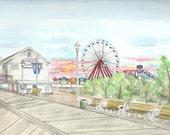Ocean City Maryland Boardwalk Print, Beach Art,Seashore Painting Home Decor Wall Picture, Amusement Park Pier, Ferris Wheel and Carousel
