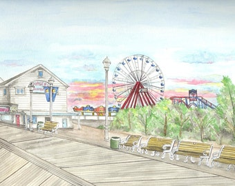 Ocean City Maryland Boardwalk Print, Beach Art, Seashore Painting, Watercolor Carousel, Amusement Park Pier, Ferris Wheel, Rollercoaster
