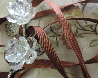 """Vintage 1960's 1/4"""" Wide Beautiful Decorative Copper Flat Ribbed Ribbon Sewing Trim"""