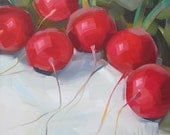 Round Red Ruby Radishes, Original Oil Painting