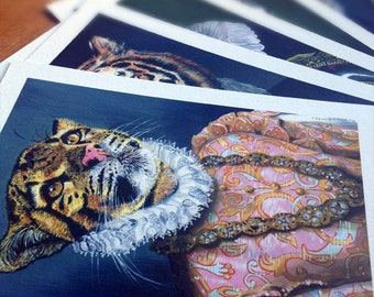 Royal Felidae Pack of 5. Giclée prints 5 x 7 inches each