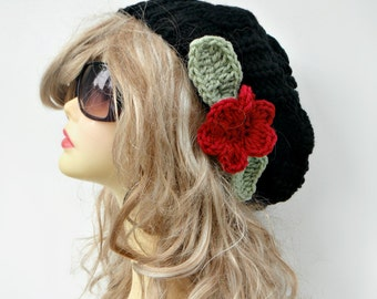 Knit Slouch Hat MANY COLORS Knit Beanie With Flower Black Slouch Beanie Black Womens Hat Winter Hat  Hair Accessories Womens Accessories
