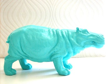 AQUA Large Hippo Statue in aqua:  Hans the Hippo home decor kids room nursery office unique gift idea